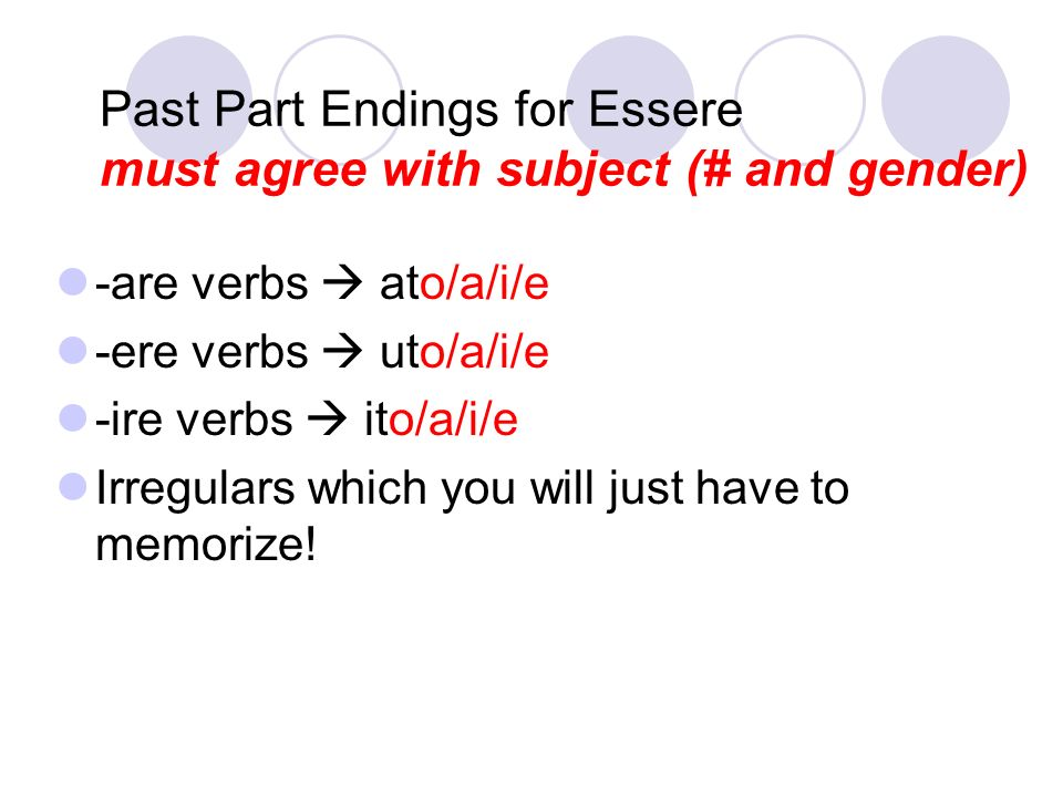 Past Part Endings for Essere must agree with subject (# and gender)