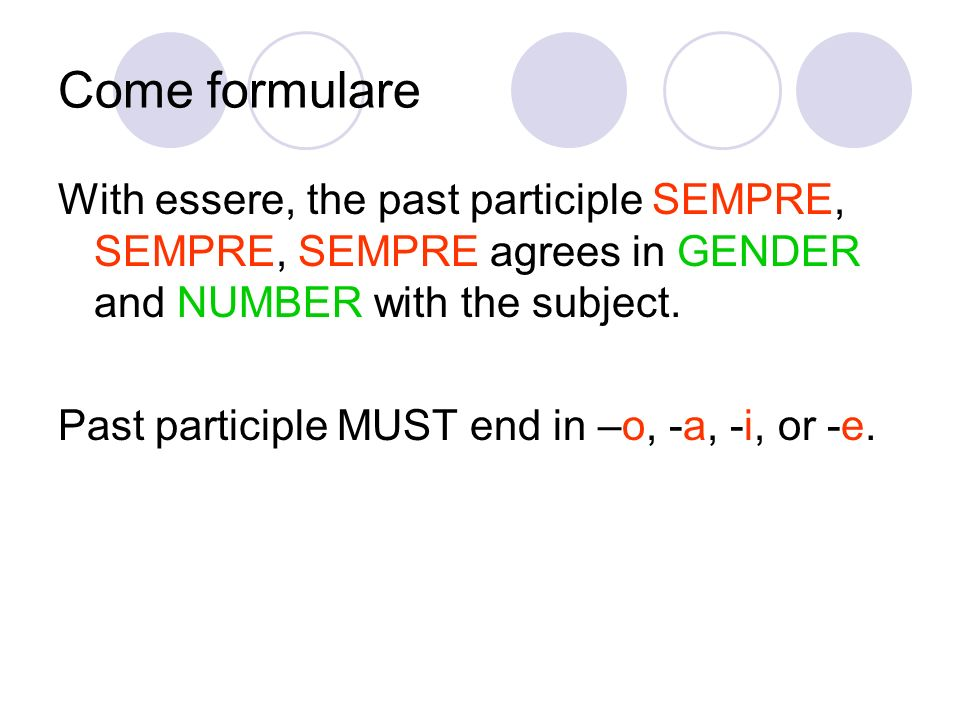 Come formulare With essere, the past participle SEMPRE, SEMPRE, SEMPRE agrees in GENDER and NUMBER with the subject.