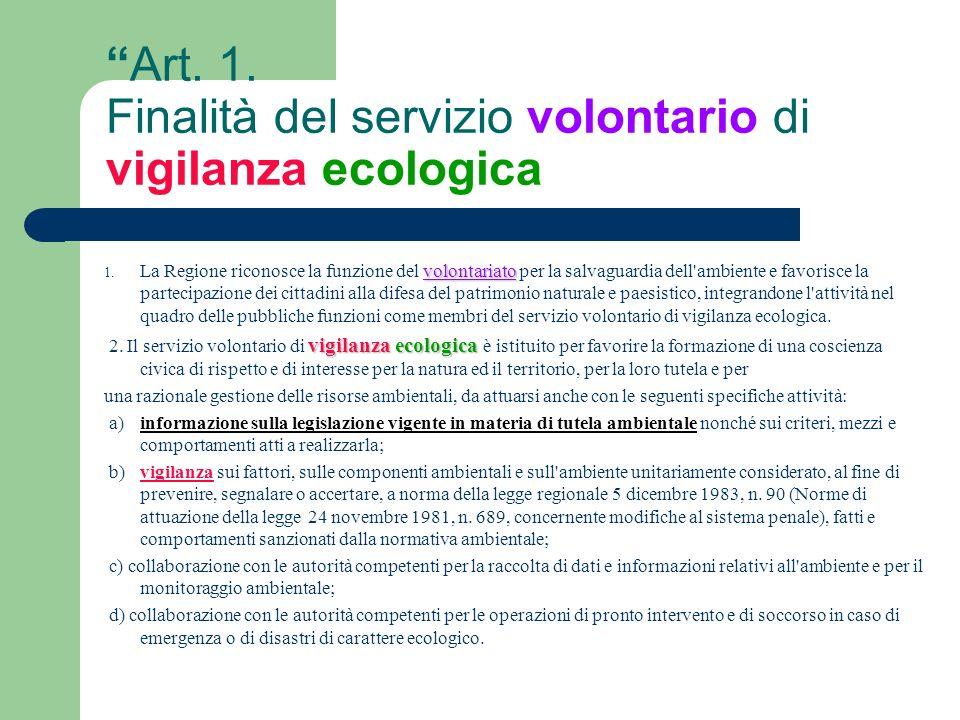 Art. 1. Finalità del servizio volontario di vigilanza ecologica