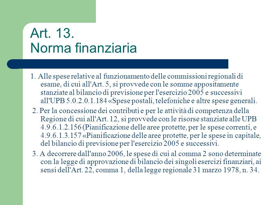 Art. 13. Norma finanziaria