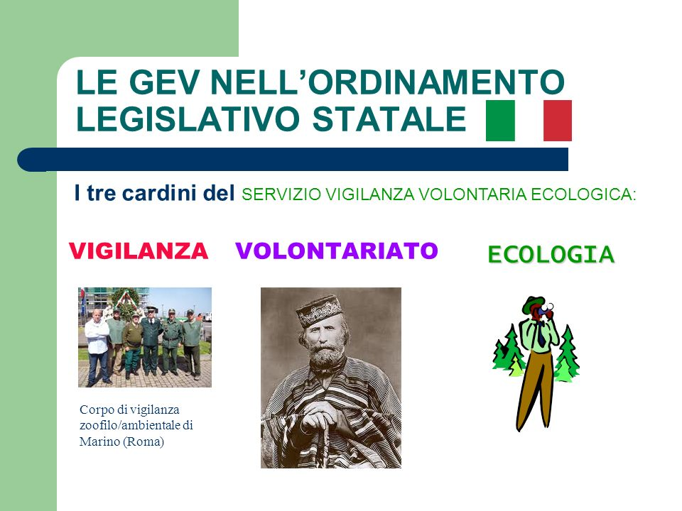 LE GEV NELL'ORDINAMENTO LEGISLATIVO STATALE