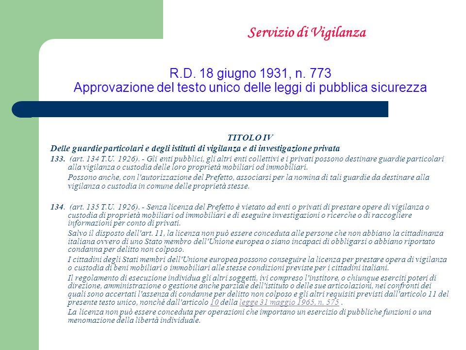 Servizio di VigilanzaR.D. 18 giugno 1931, n. 773 Approvazione del testo unico delle leggi di pubblica sicurezza.