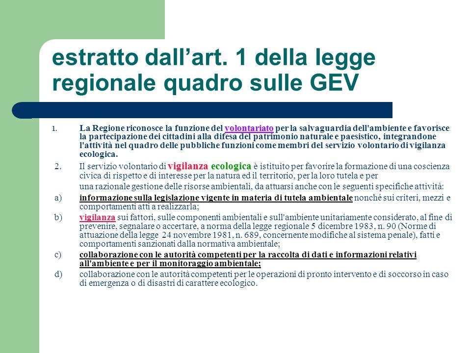 estratto dall'art. 1 della legge regionale quadro sulle GEV