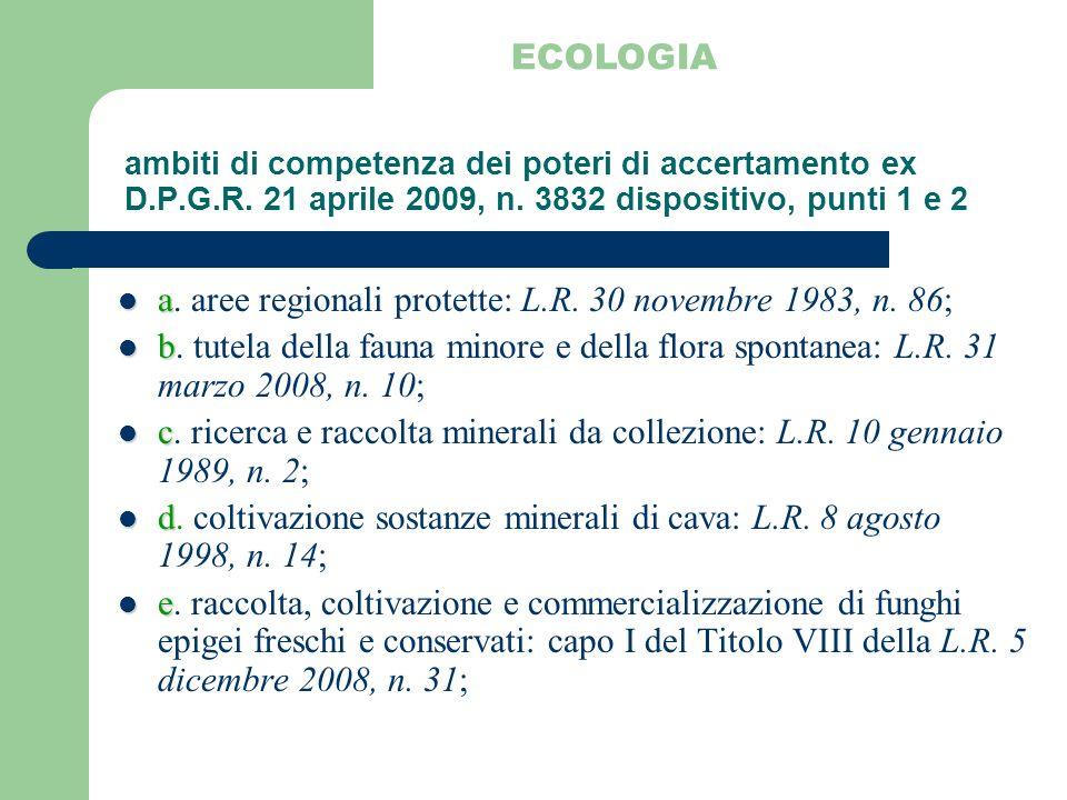 a. aree regionali protette: L.R. 30 novembre 1983, n. 86;