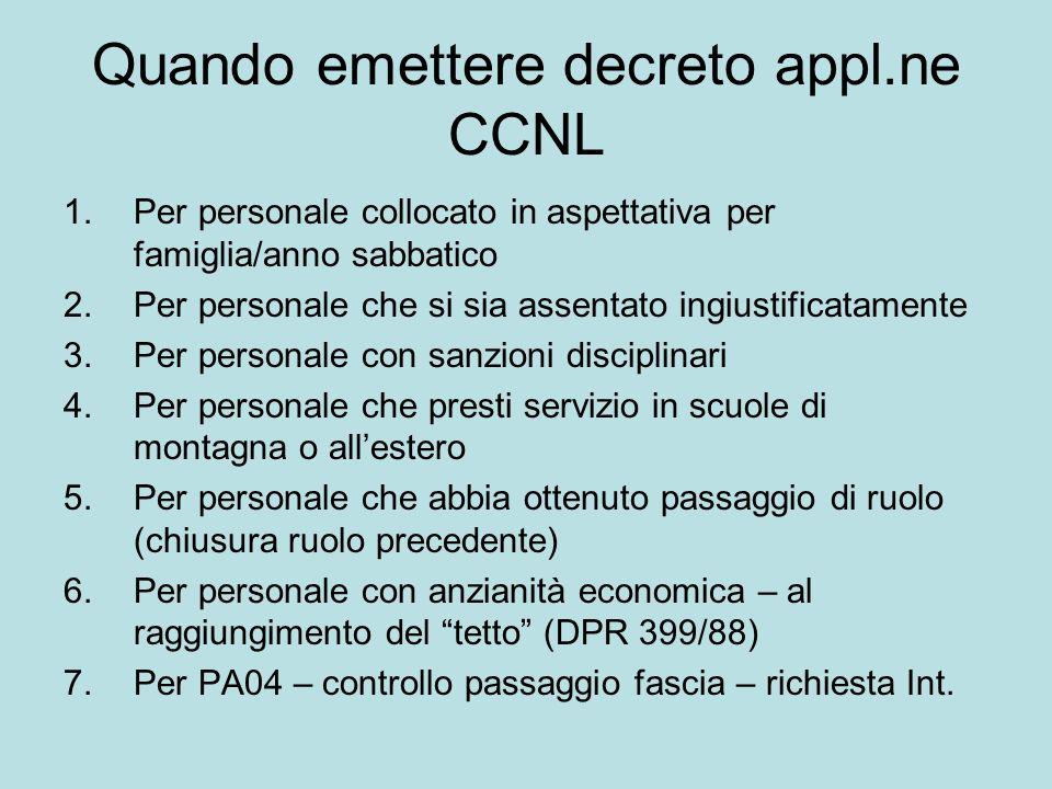 Quando emettere decreto appl.ne CCNL