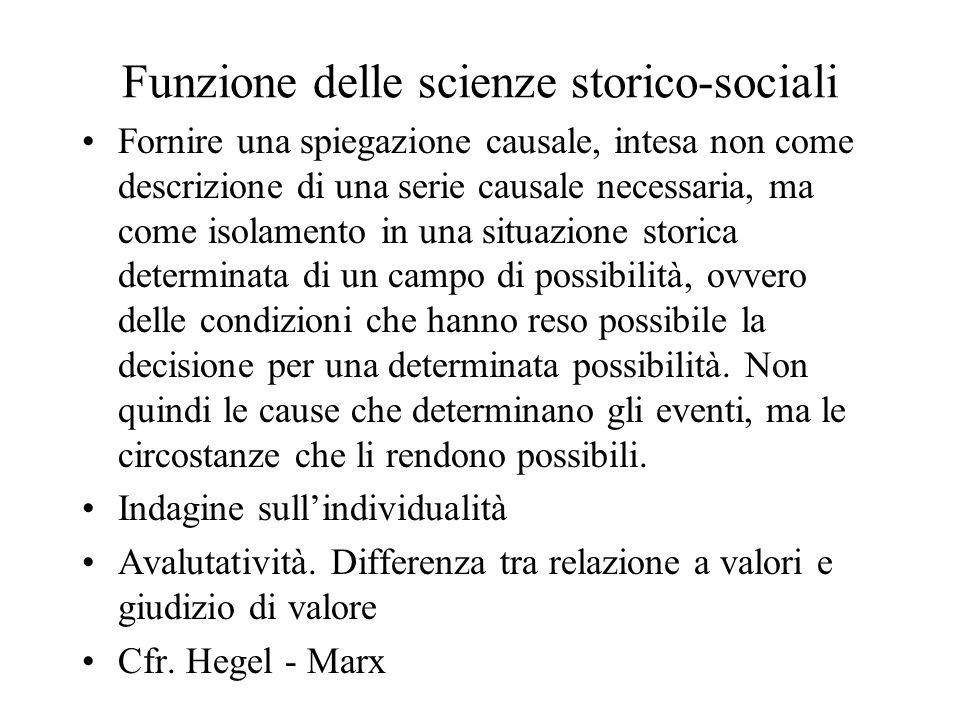 Funzione delle scienze storico-sociali