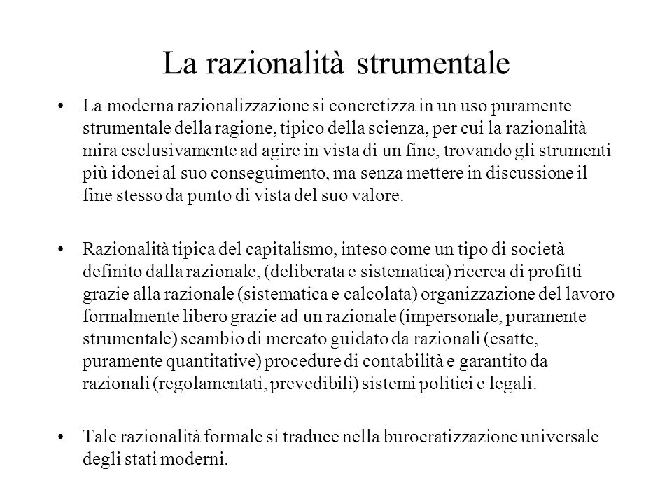 La razionalità strumentale