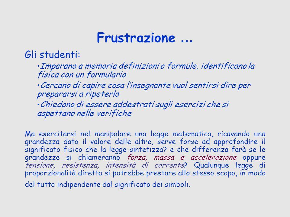 Frustrazione … Gli studenti: