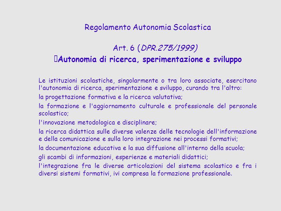 Regolamento Autonomia Scolastica Art. 6 (DPR.275/1999)