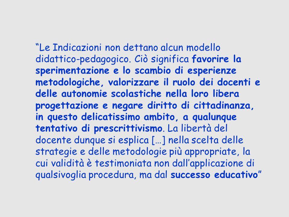 Le Indicazioni non dettano alcun modello didattico-pedagogico