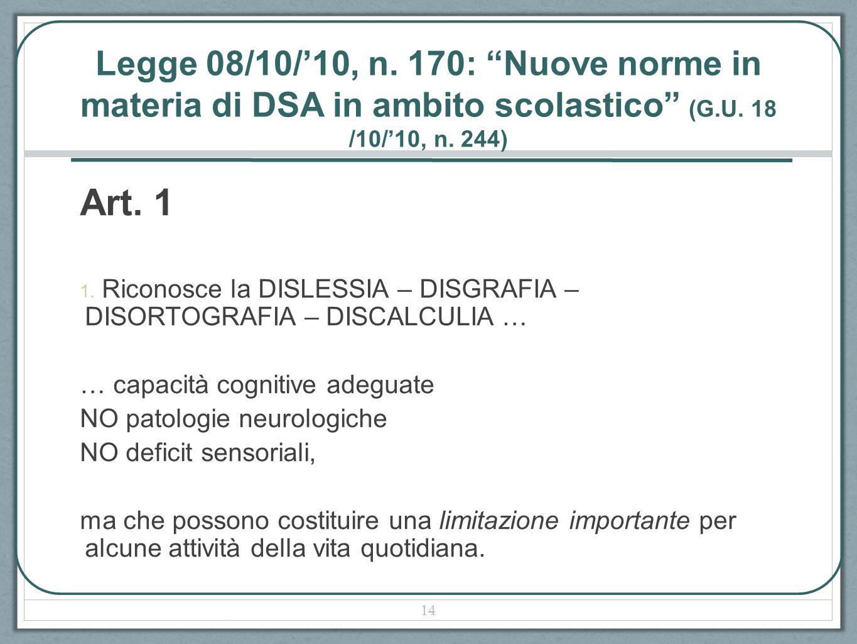 Legge 08/10/'10, n. 170: Nuove norme in materia di DSA in ambito scolastico (G.U. 18 /10/'10, n. 244)