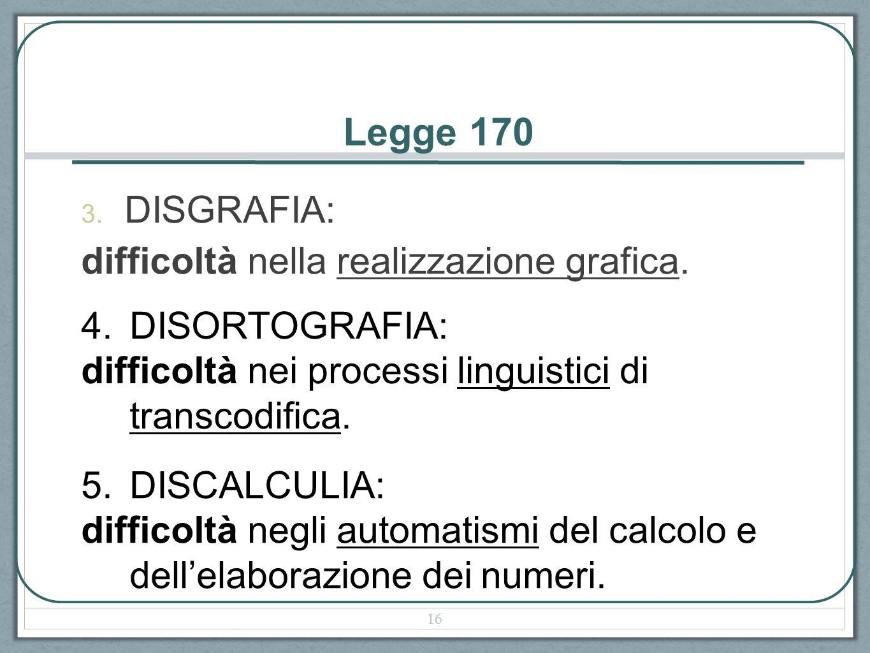 Legge 170 DISGRAFIA: difficoltà nella realizzazione grafica.