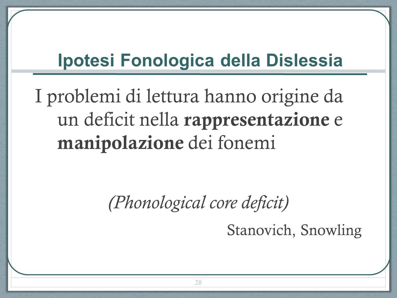 Ipotesi Fonologica della Dislessia