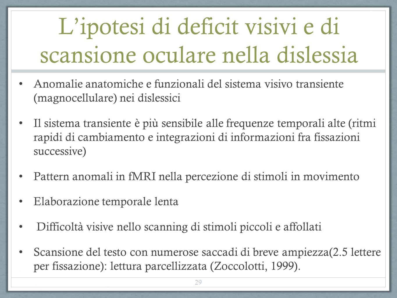 L'ipotesi di deficit visivi e di scansione oculare nella dislessia