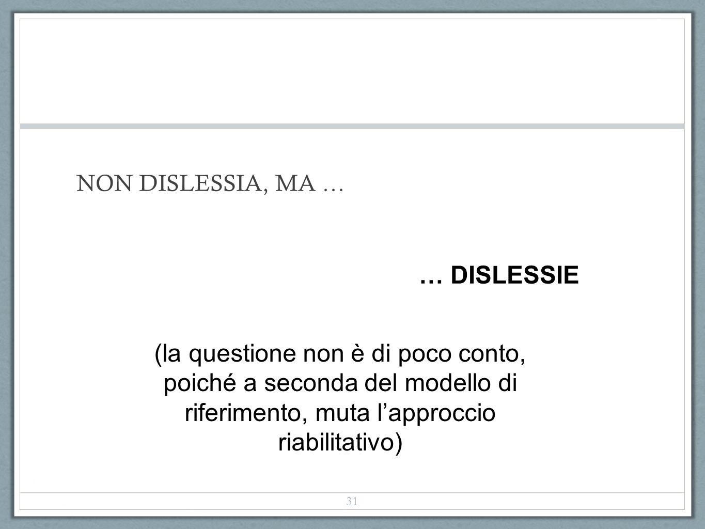 NON DISLESSIA, MA … … DISLESSIE.