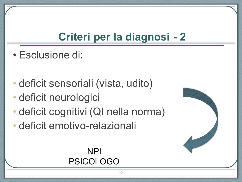 Criteri per la diagnosi - 2