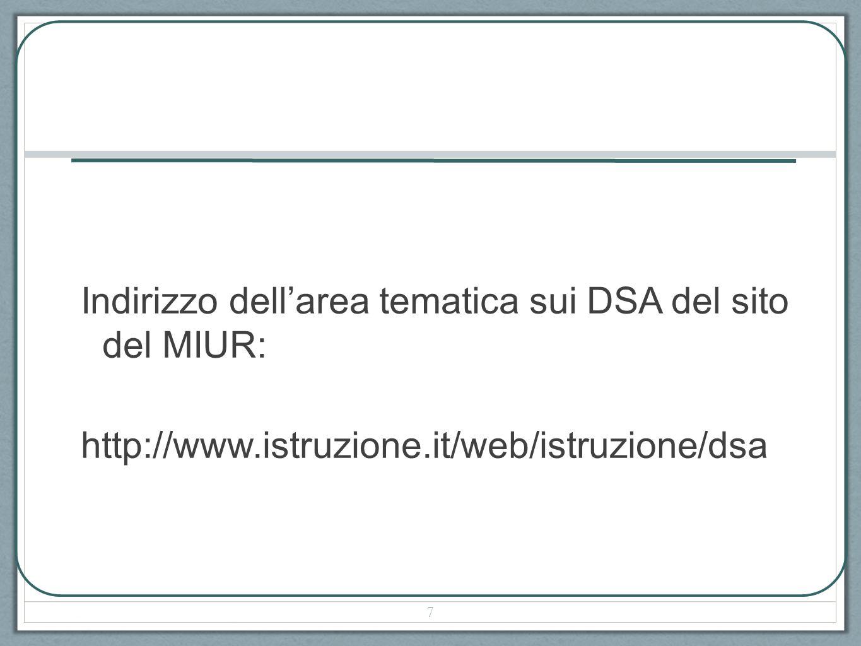 Indirizzo dell'area tematica sui DSA del sito del MIUR: http://www