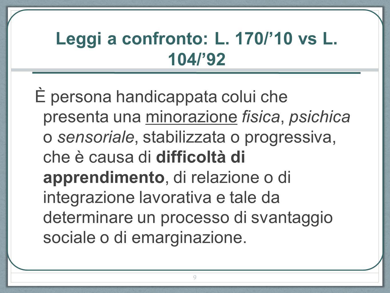 Leggi a confronto: L. 170/'10 vs L. 104/'92