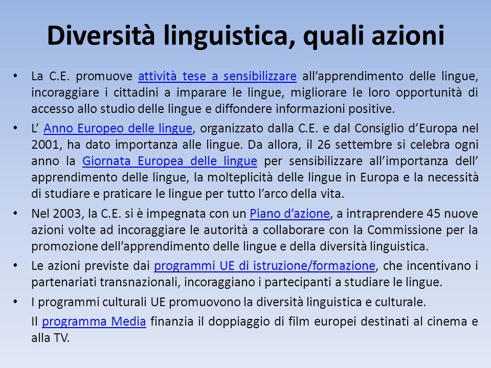 Diversità linguistica, quali azioni