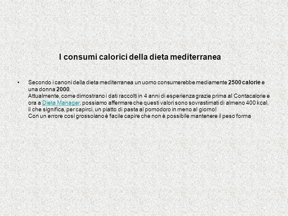 I consumi calorici della dieta mediterranea