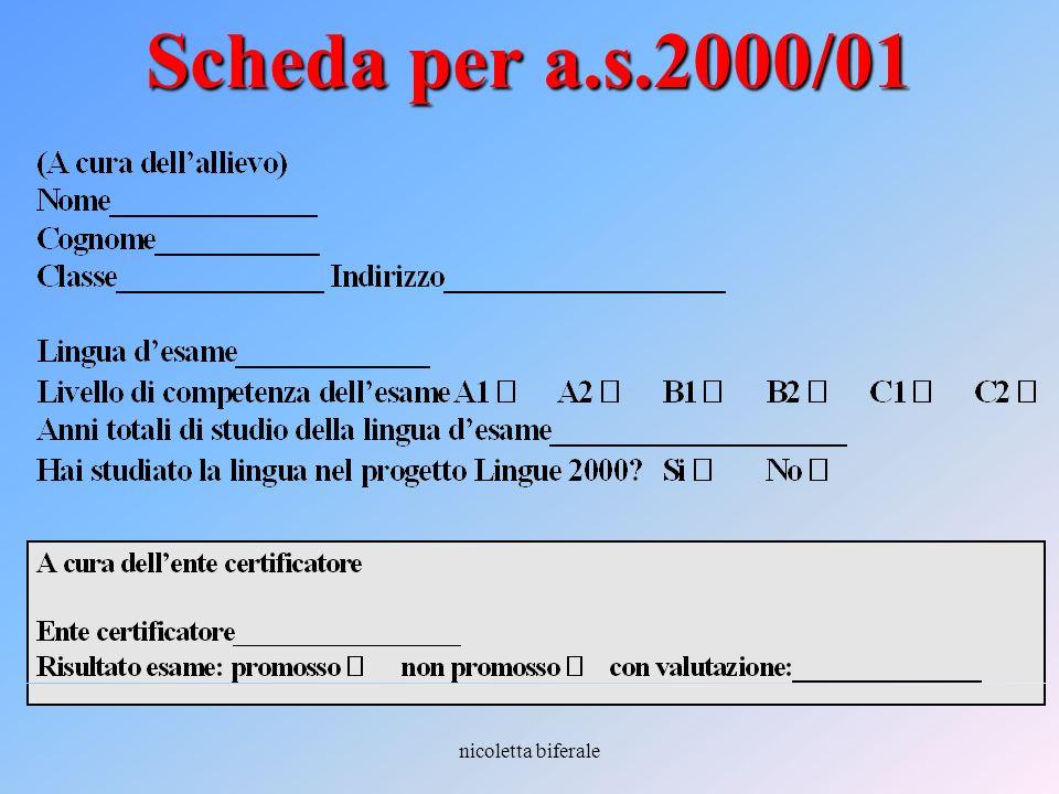 Scheda per a.s.2000/01 nicoletta biferale
