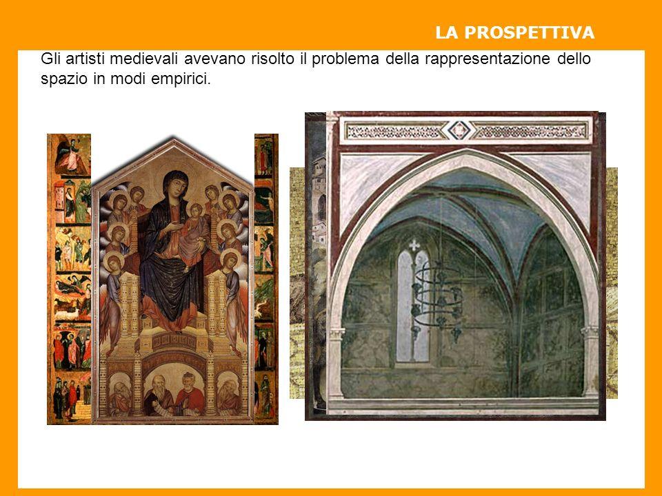LA PROSPETTIVA Gli artisti medievali avevano risolto il problema della rappresentazione dello spazio in modi empirici.