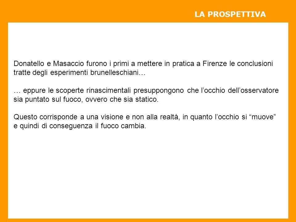 LA PROSPETTIVA Donatello e Masaccio furono i primi a mettere in pratica a Firenze le conclusioni. tratte degli esperimenti brunelleschiani…