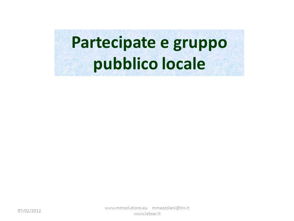 Partecipate e gruppo pubblico locale