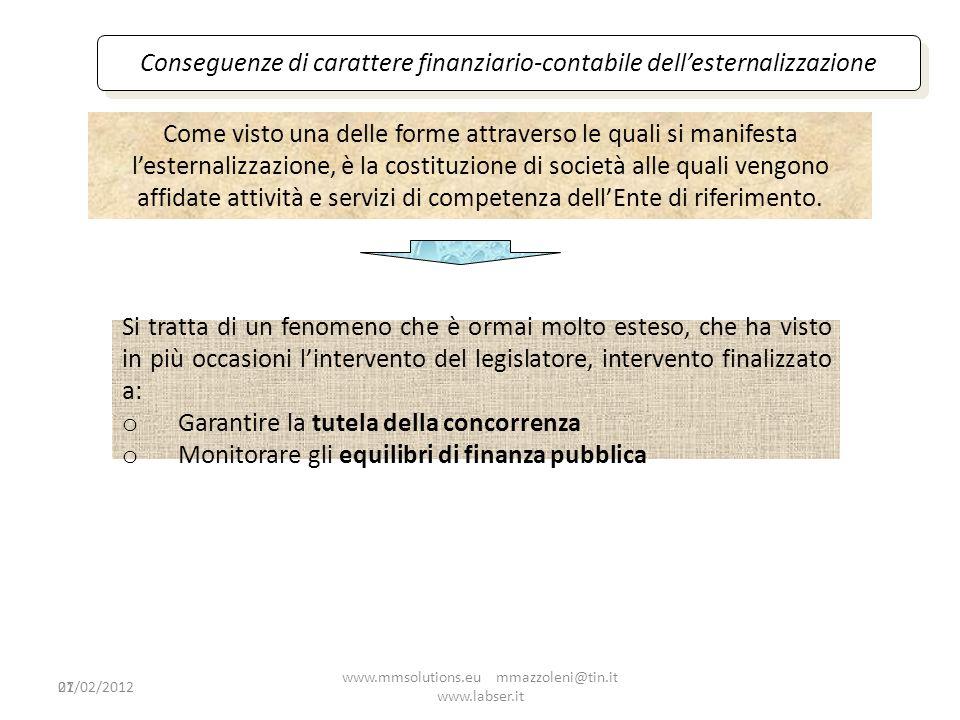 Conseguenze di carattere finanziario-contabile dell'esternalizzazione