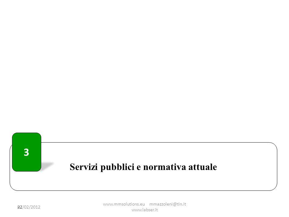 Servizi pubblici e normativa attuale