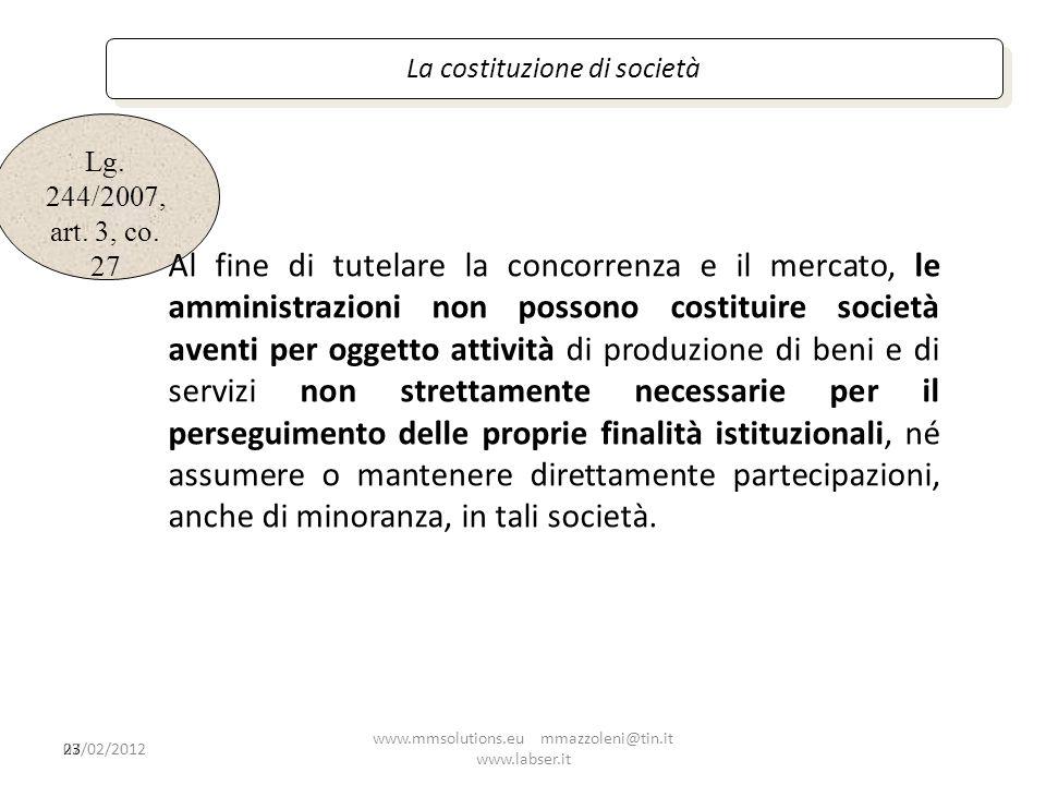 La costituzione di società