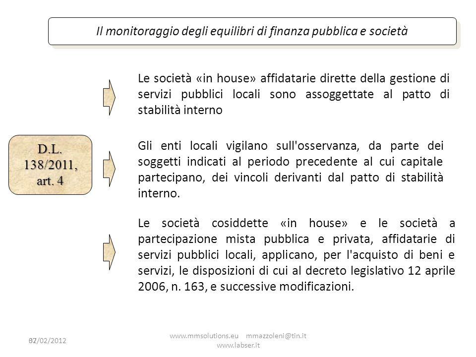 Il monitoraggio degli equilibri di finanza pubblica e società