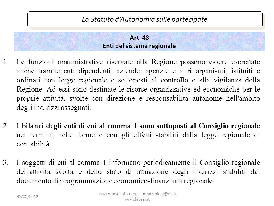 Art. 48 Enti del sistema regionale