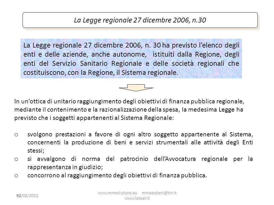 La Legge regionale 27 dicembre 2006, n.30