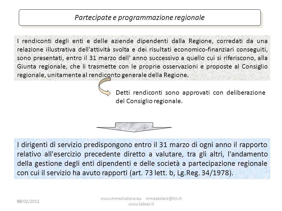 Partecipate e programmazione regionale