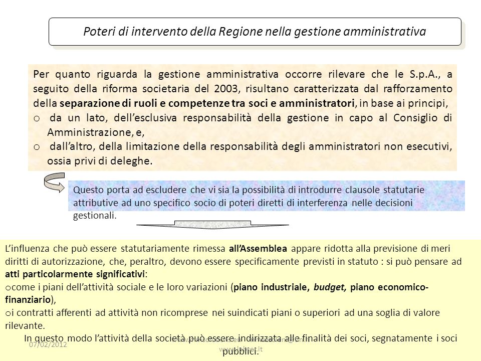 Poteri di intervento della Regione nella gestione amministrativa