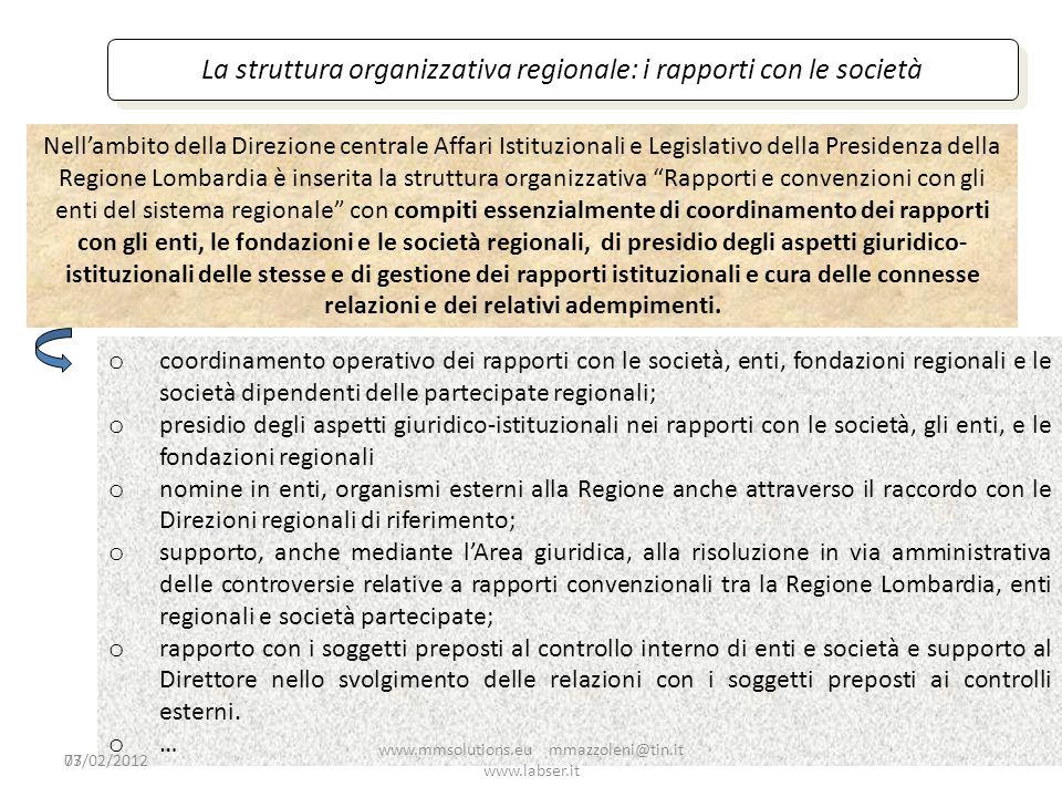 La struttura organizzativa regionale: i rapporti con le società
