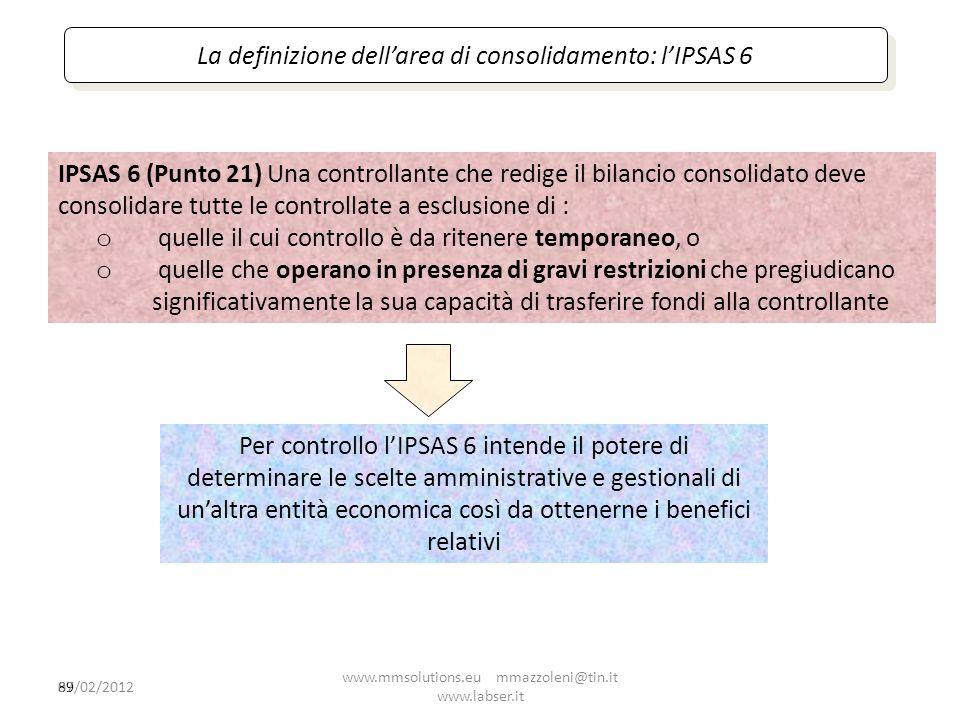 La definizione dell'area di consolidamento: l'IPSAS 6