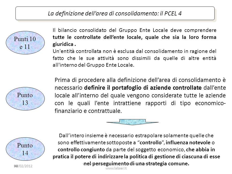 La definizione dell'area di consolidamento: il PCEL 4