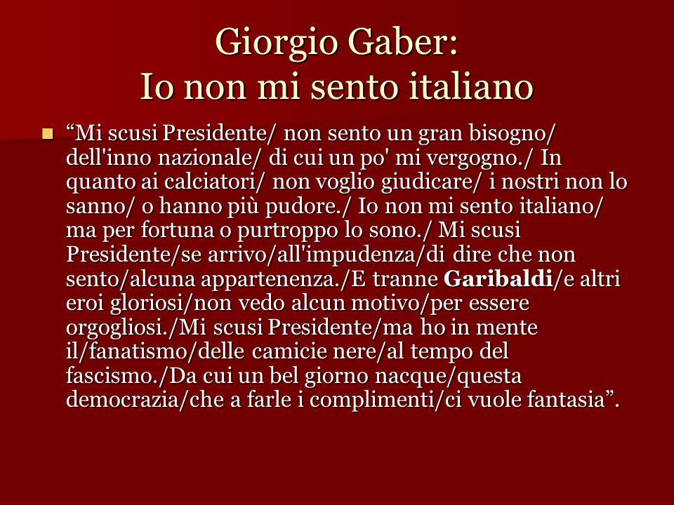 Giorgio Gaber: Io non mi sento italiano