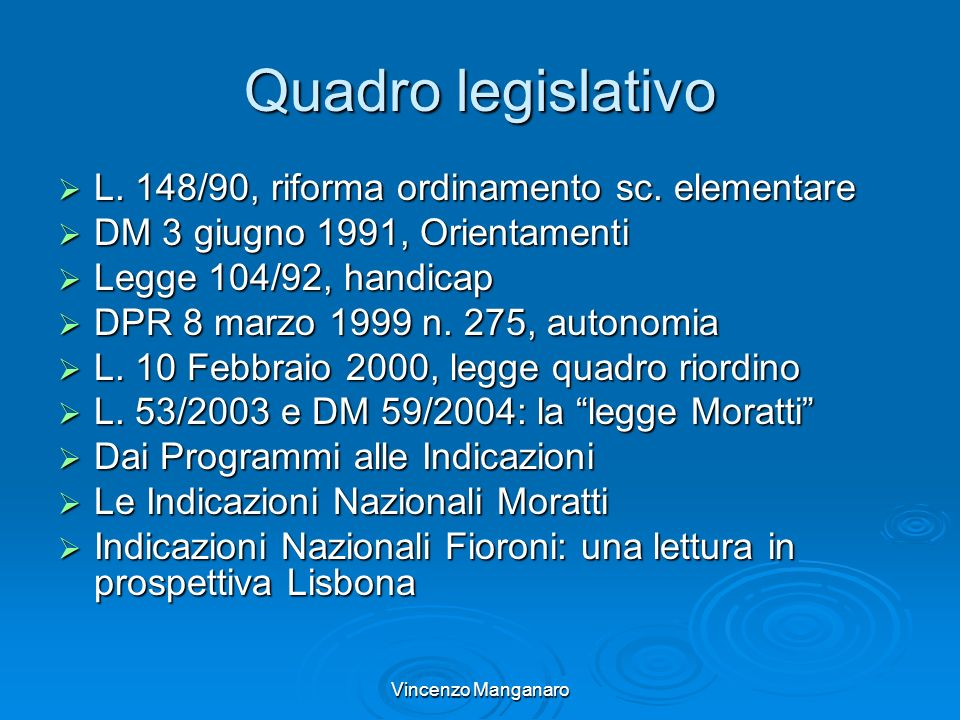 Quadro legislativo L. 148/90, riforma ordinamento sc. elementare