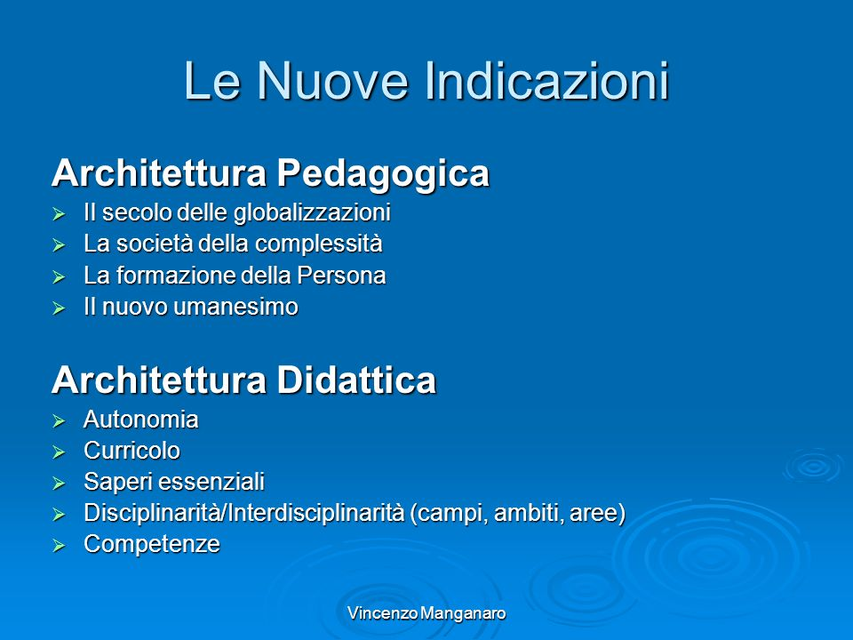 Le Nuove Indicazioni Architettura Pedagogica Architettura Didattica