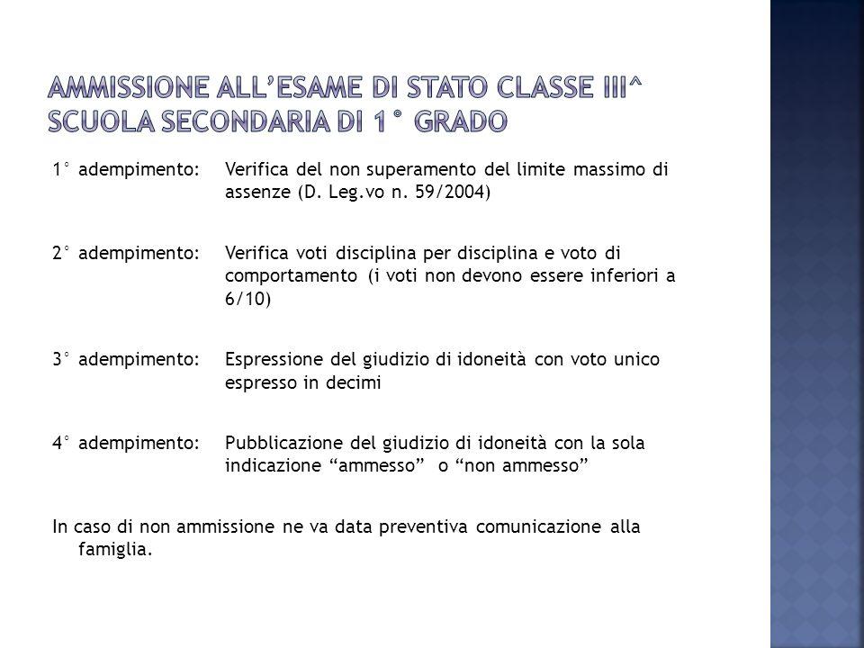 AMMISSIONE ALL'ESAME DI STATO classe III^ scuola secondaria di 1° grado