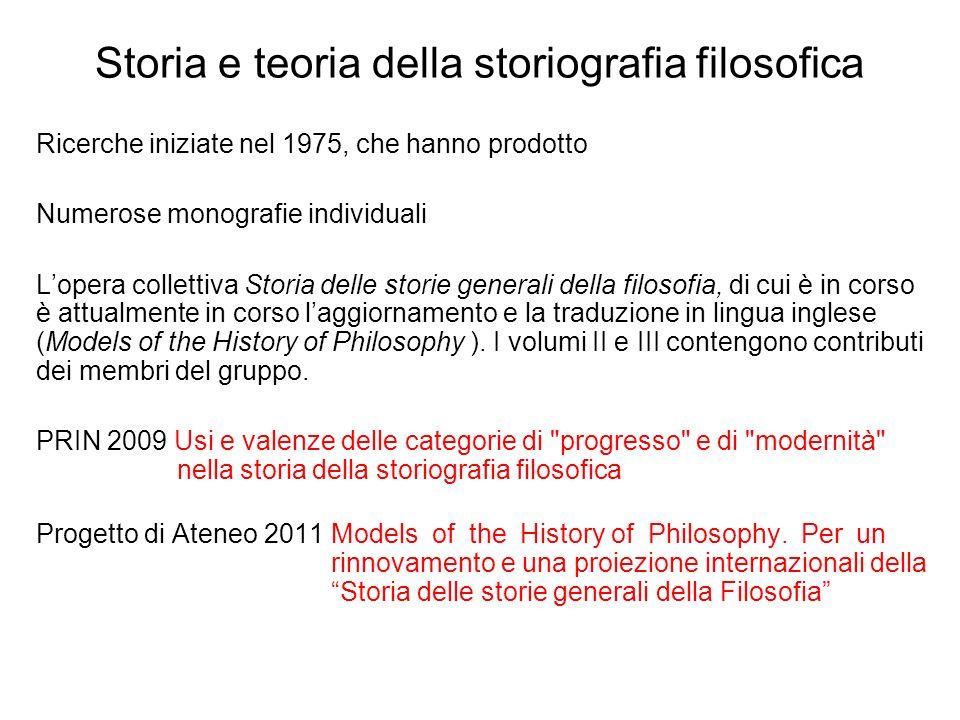 Storia e teoria della storiografia filosofica