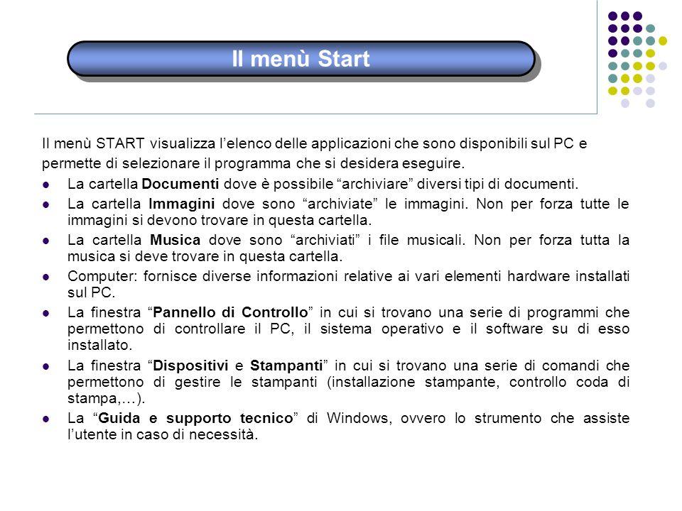 Il menù Start Il menù START visualizza l'elenco delle applicazioni che sono disponibili sul PC e.