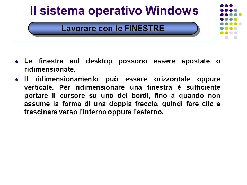 Il sistema operativo Windows Lavorare con le FINESTRE