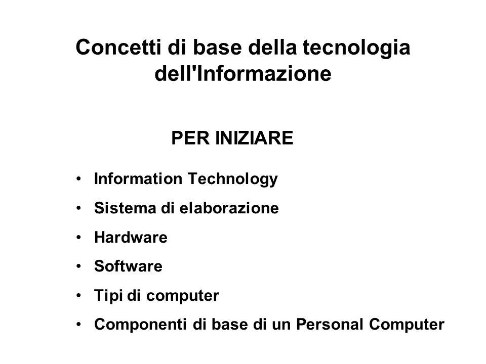 Concetti di base della tecnologia dell Informazione