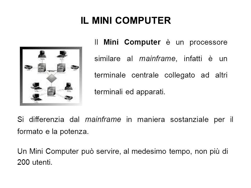 IL MINI COMPUTER Il Mini Computer è un processore similare al mainframe, infatti è un terminale centrale collegato ad altri terminali ed apparati.