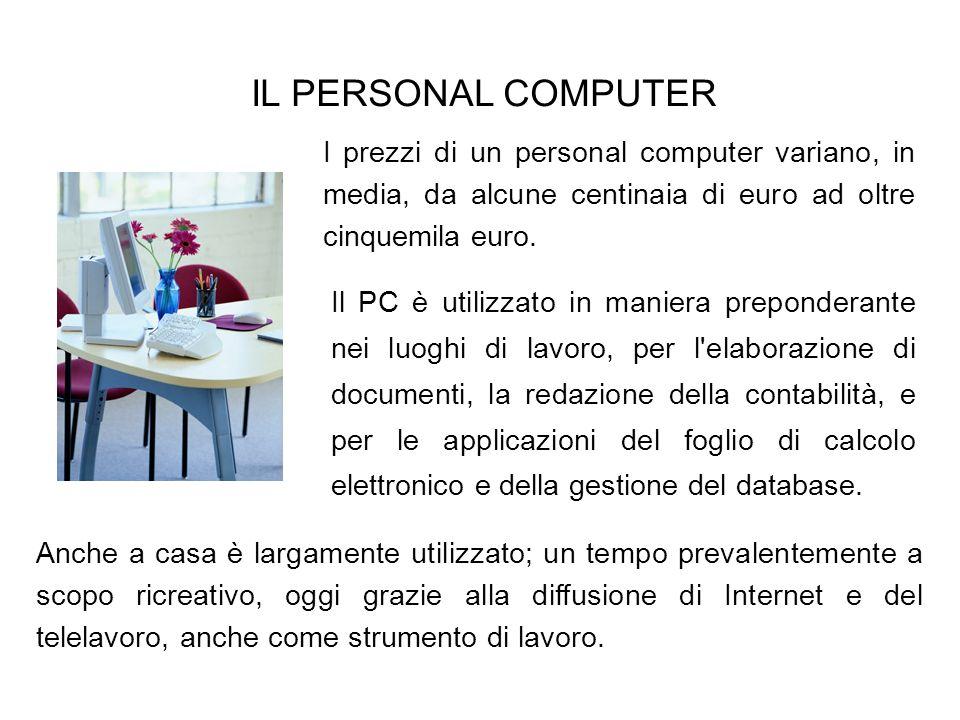 IL PERSONAL COMPUTERI prezzi di un personal computer variano, in media, da alcune centinaia di euro ad oltre cinquemila euro.