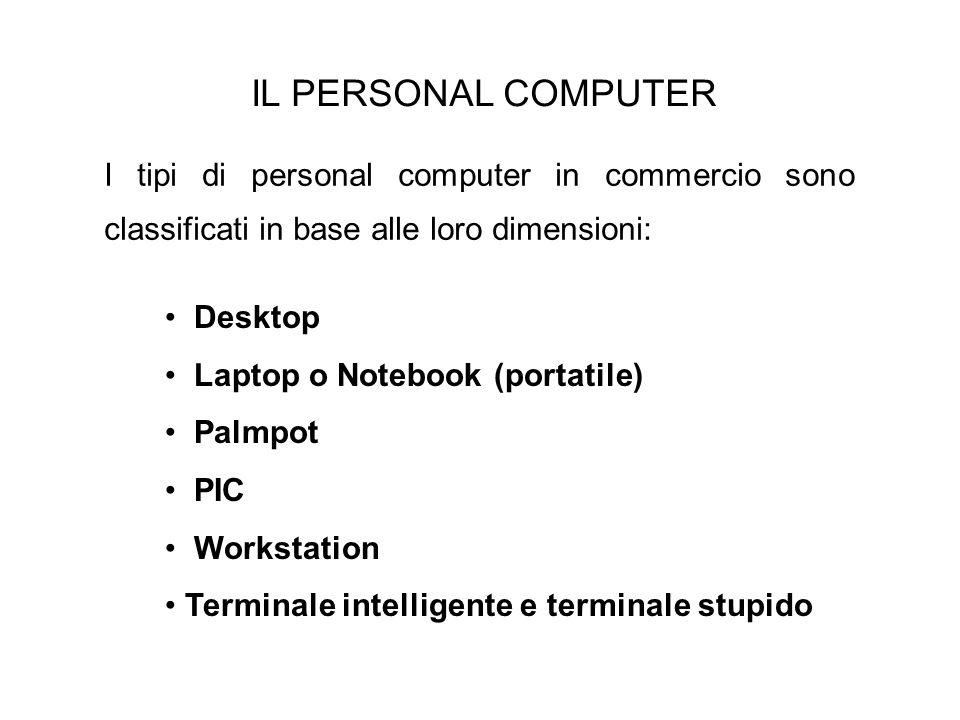 IL PERSONAL COMPUTER I tipi di personal computer in commercio sono classificati in base alle loro dimensioni: